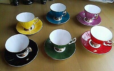 6 Adderley Cups And Saucers Harlequin Colours   • 90£
