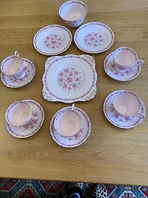 Vintage China Tuscan Love In The Mist Pink Part Tea Set, 14 Pieces • 35£