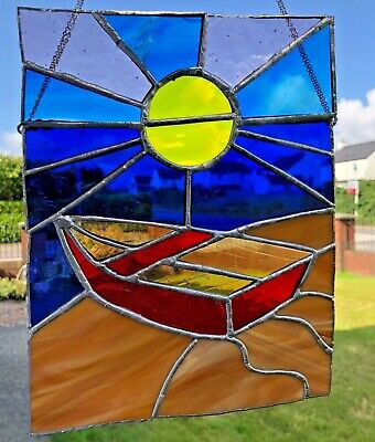 Stained Glass Suncatcher Boat On Beach • 32.99£