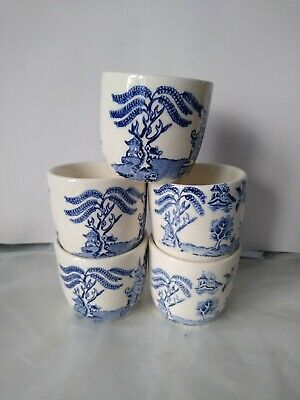 5 Blue & White Willow Pattern Egg Cups, Genuine Vintage, • 5.99£