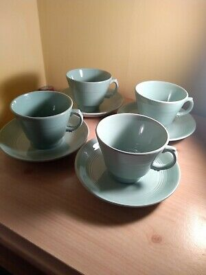 4 X Vintage Woods Beryl Green Tea Cups & Saucers Utility Ware 1940s  • 12.99£