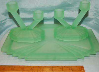 Pair Of Antique Green Frosted Glass Candlesticks & Tray Art Deco C1920-30s • 15£