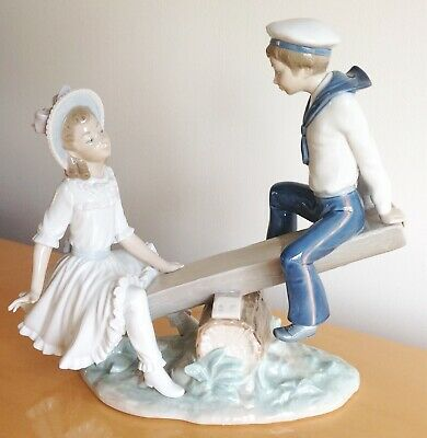Vintage Lladro Porcelain Sailor Boy & Girl On  Seesaw  Figurine Model L1255G • 36£