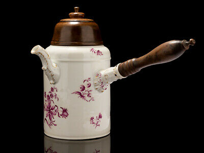 18th Century Porcelain Puce Cylindrical Chocolate Pot • 1,340£