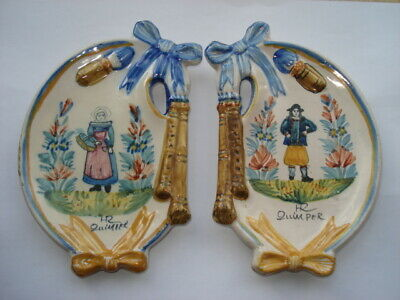 Vintage Hr Quimper Pair Of Bagpipe Shaped Lady&gentleman Matching Pin Dishes • 64.99£