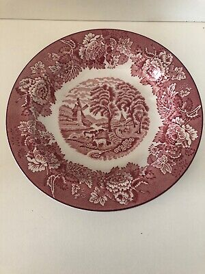 Vintage Wood & Sons Enoch Woods English Scenery Woods Ware Pink/White Bowl • 3.50£