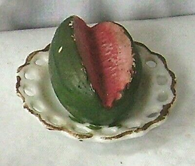Ceramic Antique Miniature Model Of Water Melon On A Plate  • 22£