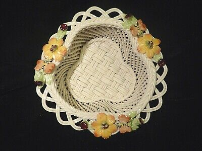 Antique Belleek Tricorn Basket Weave Porcelain With Applied Flowers • 50£