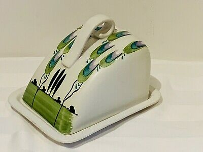 Edward Radford Vintage Pottery Cheese/Butter Wedge Dish & Lid Hand Painted Styli • 19.99£