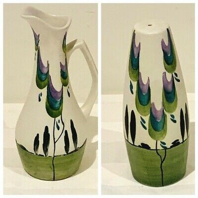 Edward Radford Vintage Pottery Salt Pot & Vinegar Jug Hand Painted   • 14.99£