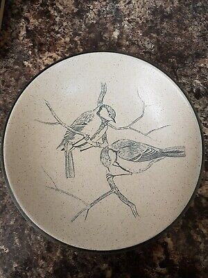 Beautiful Purbeck Pottery Stoneware Bowl Incised Blue Tits Design 8.5  Perfect • 8£