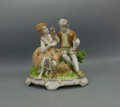 Antique Porcelain German Dresden Figurine Of Young Couple Unterweissbach Factory • 16£