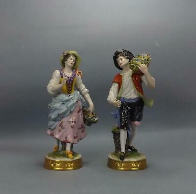 Antique Porcelain Dresden German Pare Of Figurines By Volkstedt • 34£