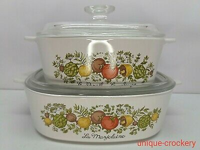 Set Of 2 Corning Ware ~Spice Of Life~ Casserole Dishes With Glass Lids • 32.50£