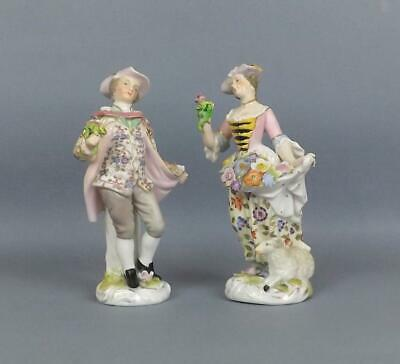 Antique Porcelain French Samson Chelsea Pare Of Figurines Of A Vendors ,Signed • 16.50£
