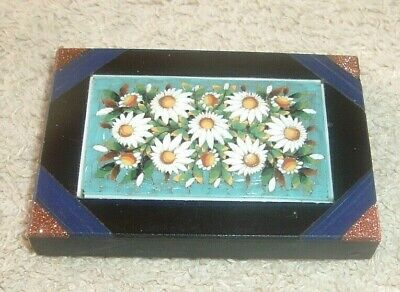 Very Rare FLORAL MILLEFIORI AND SLATE - Rectangular Sharped Paperweight  • 14.99£