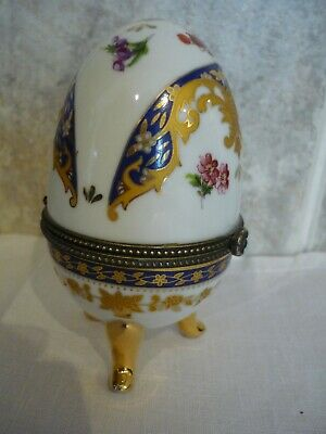 Hand Painted Hinged Egg By Limoges Of France. With Gold Leaf. • 10£