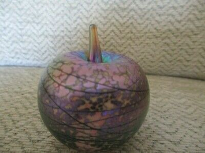 Vintage Iridescent Apple Shape Glass Paperweight (isle Of Wight??) • 4.99£