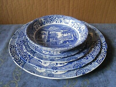 Spode Italian Pattern Cereal Bowl And 4 Graduated Plates Blue & White • 19.99£