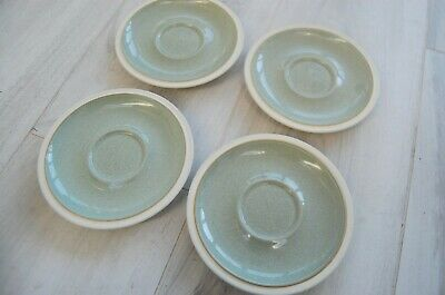 4 X Denby Saucers - Green In Centre, Cream On Rim • 9.99£