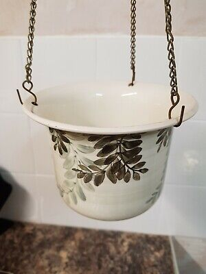 Lovely Vintage Jersey Pottery Hand Painted Hanging Planter W/chains • 12£