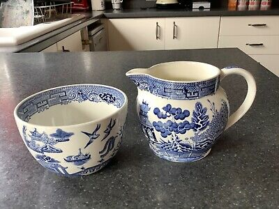 Wedgewood Willow Pattern Milk Jug And Sugar Bowl • 8£