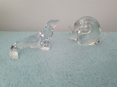 2 Wedgwood Clear Glass Animals. Seal And Snail • 16.99£
