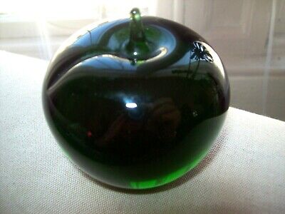 Wedgwood Glass Apple Hand Blown Green Glass Paperweight -signed • 7£