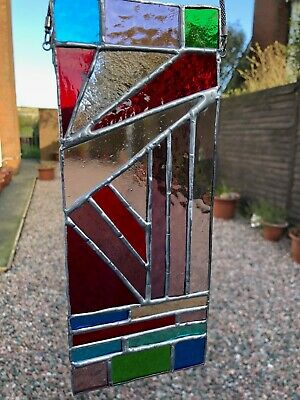 Stained Glass Hand Created Unique Abstract Vertical Panel • 21.99£