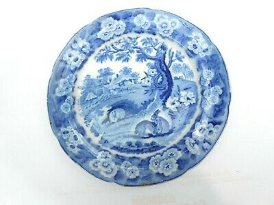 Blue & White Transfer Ware Plate Grazing Rabbits Circa 1800-50 • 18£