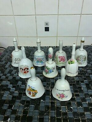 9 Assorted Bone China Collectable Bell Ornaments. Mint Condition. • 6.50£