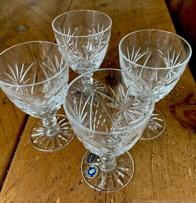 Set 4 Vintage BOHEMIA Cut Crystal Glass Wine Glasses. Never Been Used. • 20£