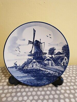 Small Delft Blue Wall Hanging Plate With Windmill Scene • 5.99£