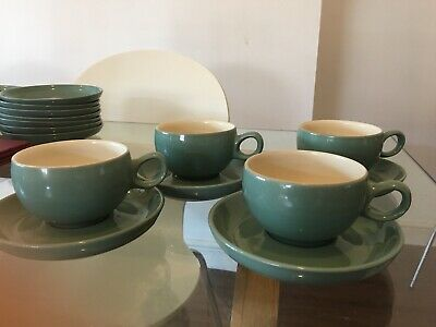 Denby Green - 4 Coffee Cups And Saucers • 10£