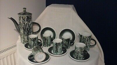 Rye Pottery Coffee Set Vintage 1970s Green Bark Coffee Pot/jug/6cups+saucers • 8£