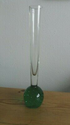 Vintage Retro Controlled Bubble Green And Clear Glass Stem Vase • 1.50£