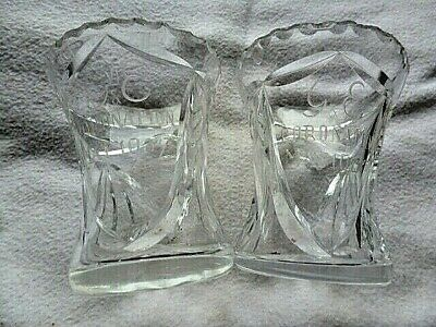1937 CORONATION,  Matching Pair Of  Cut Glass  ' Snowdrop'  Mantelpiece Vases • 4.99£