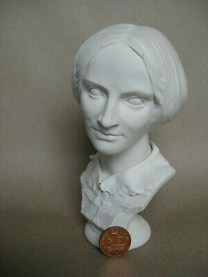 Antique Pottery Parian Bust Of Charlotte Bronte • 95£