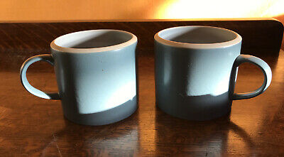 Denby Pottery Breakfast Cup X 2 Blue Grey • 4.99£