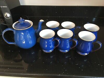 Denby Imperial Blue Teapot And 6 Mugs • 36£