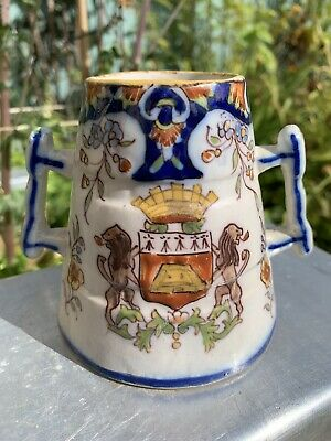 Antique French Faience Dinan Brittany Pottery Double Handled Crested Cup Mug • 12£