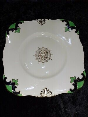 Plant Tuscan China Square Plate With Gold Motif In Middle  9 Inch • 3£