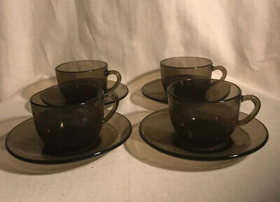 Vintage Vereco France Brown Glass Coffee Cup & Saucers X 4 • 7.50£