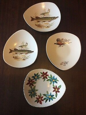 MIDWINTER FOUR FASHION SHAPE OVAL TRAYS F65 PIKE PHEASANT & FLOWERS 1960s • 25£