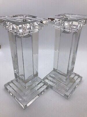 Bohemia Crystal Pair Of Pillar Candle Holders/Candlesticks Boxed • 22£
