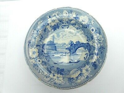 B/w Transfer Ware Soup Bowl By An Unknown  Maker In The Ponte Rotto Pattern • 0.99£