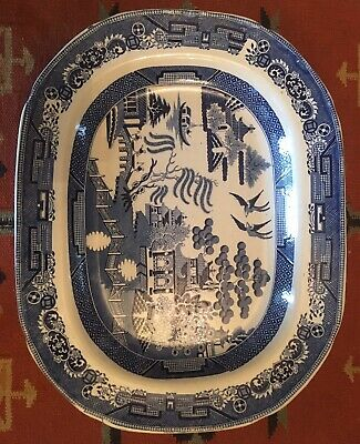 Blue And White Willow Pattern Meat Plate. 18inches • 20£