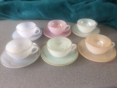 French Arcopal Vintage Harlequin Tea/coffee 6 Piece Set • 22£