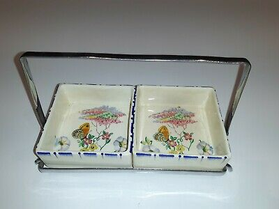 Deco Parrot & Company Pottery Coronet Ware Square Jam Butter Dishes Chrome Stand • 7£