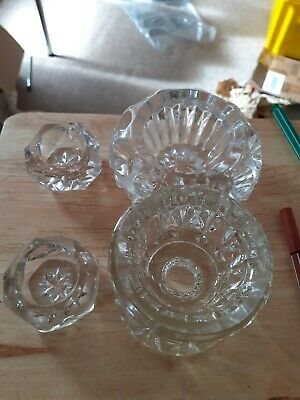 4 Assorted Glass Candlestick Holders • 1.50£